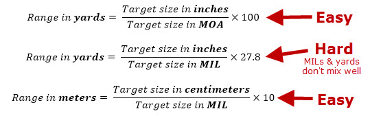 MIL MOA Range Estimation Math Formulas
